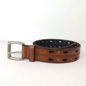 Carhartt  Brown Leather Eyelets Studded Belt